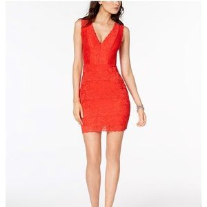 GUESS Deep V body con red dress